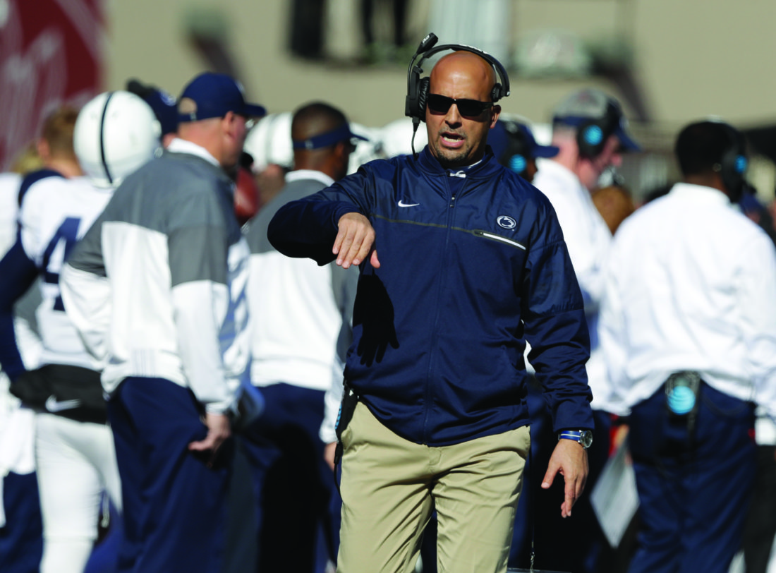 Penn State head coach James Franklin in action during the first half of an NCAA college football game against Indiana, Saturday, Nov. 12, 2016, in Bloomington, Ind. (AP Photo/Darron Cummings)