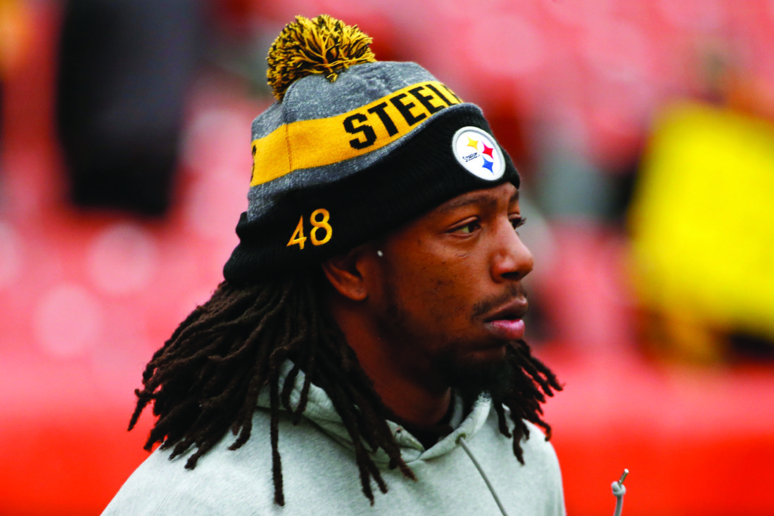 Pittsburgh Steelers outside linebacker Bud Dupree (48) warm ups before an NFL football game against the Cleveland Browns in Cleveland, Sunday, Nov. 20, 2016. (AP Photo/Ron Schwane)