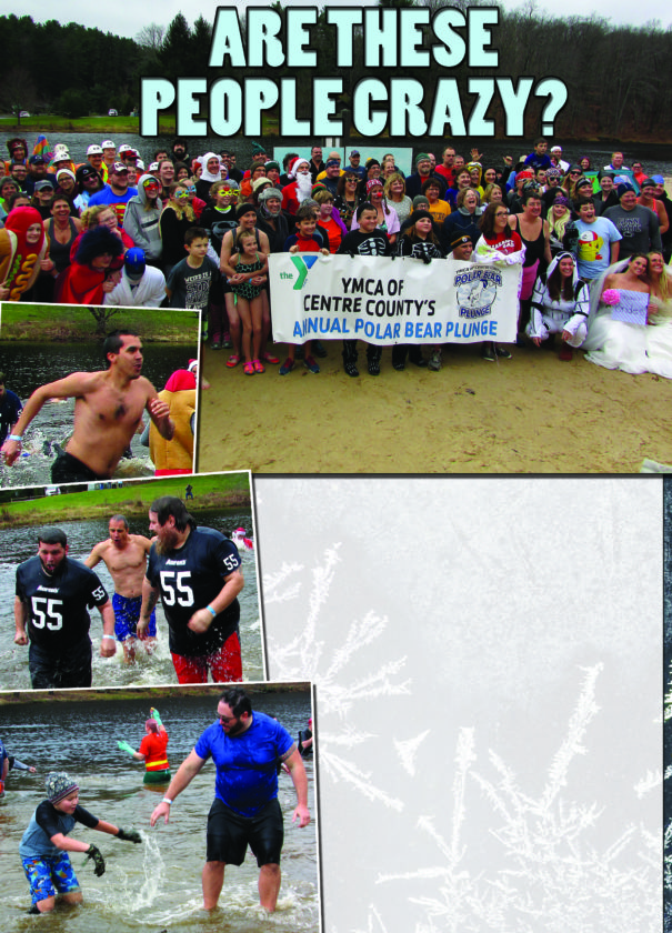 EMMA GOZALVEZ/THE EXPRESS On Saturday morning, a total of 135 individuals plunged into the water at Black Moshannon State Park to benefit the YMCA's Open Doors and Backpack Weekend Food programs. Plungers ran into 39-degree waters for the Polar Bear Plunge.