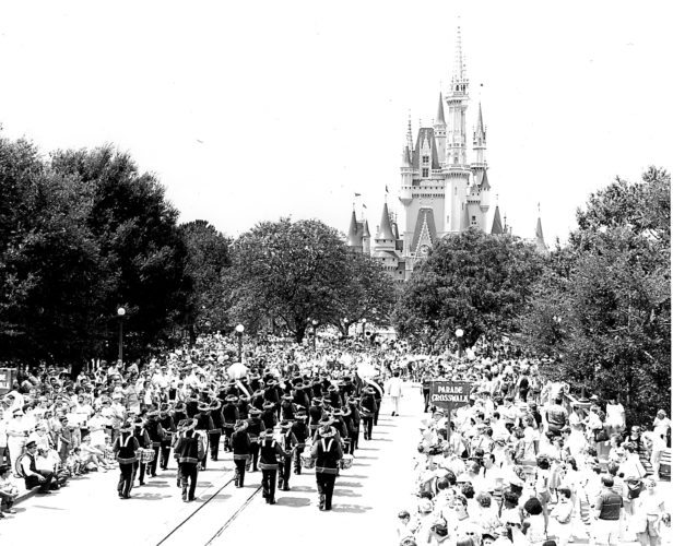 PHOTO PROVIDED Bucktail Bucks Marching Band Bucktail Area High School is celebrating its 50th anniversary, and the yearbook staff of students is looking for pictures such as this one from the community to commemorate the milestone. This photo is from the mid 1980s, showing the Bucktail Bucks band marching through Disney World.