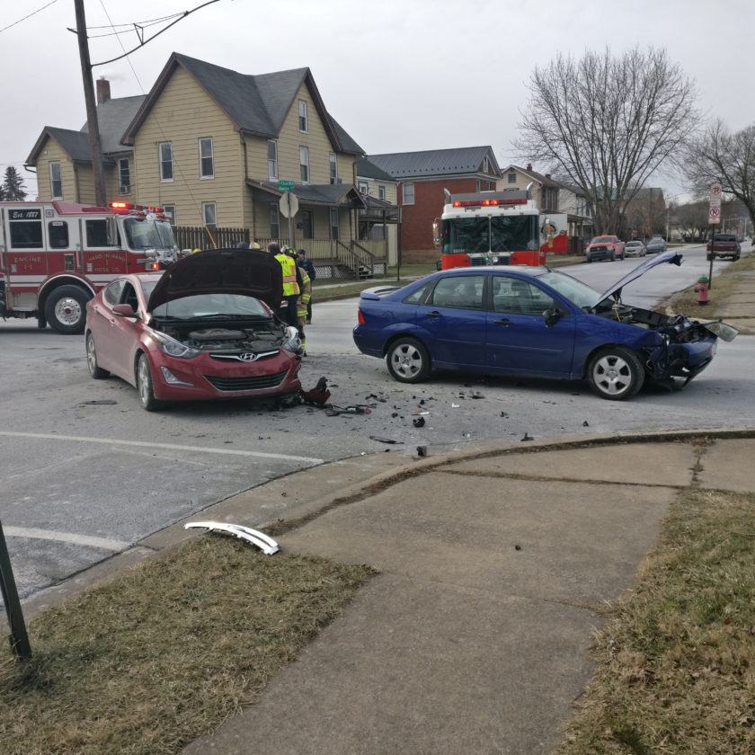 These two cars collided at East Church and Hanna streets about 12:30 this morning, causing at least one injury.
