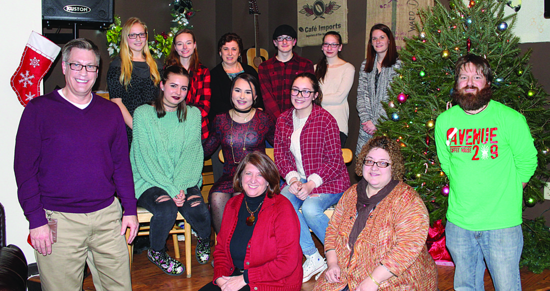 PHOTO PROVIDED Pictured are, from left, front, Chris Hausammann, Marjorie Maddox-Hafer, Lisa Riede, Jared Conti; middle, the winners, Lydia Parker, Maddie Dallen, Olivia Hanna; and back, Hailey Fravel, Hannah Cole, Chryssie Miller, Connor Eisenhower, Deyja Page, Lindsay Kalbach.