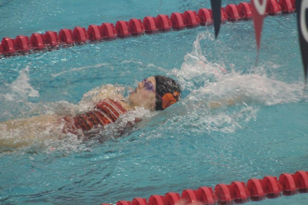 Photo Provided:  Jersey Shore's Kendra White takes seventh place in the 100-yard backstroke.