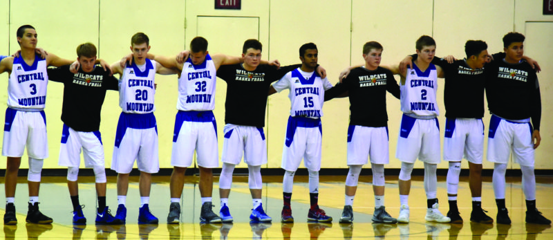 Wyatt Bumbarger (20), Nicolas Carpenetti (32), Brody Baker (24) and Yash Adroja stand together on Senior Night at Central Mountain. (The Express/Tim Weight)