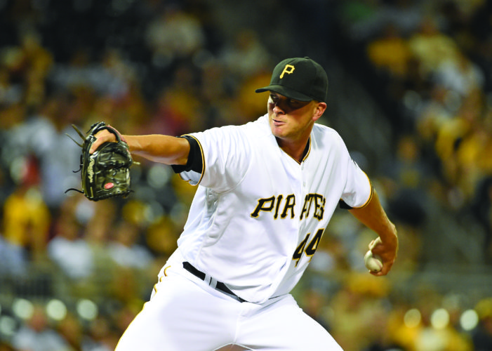 FILE - In this July 19, 2016, file photo, Pittsburgh Pirates relief pitcher Tony Watson (44) throws a pitch during a baseball game against the Milwaukee Brewers, in Pittsburgh. Watson has lost to the Pirates in salary arbitration and will make $5.6 million this year rather than his request for $6 million. Arbitrators Gil Vernon, Jeanne Wood and Steven Wolf made their decision Thursday, Feb. 16, 2017, a day after hearing arguments. (AP Photo/Fred Vuich, File)