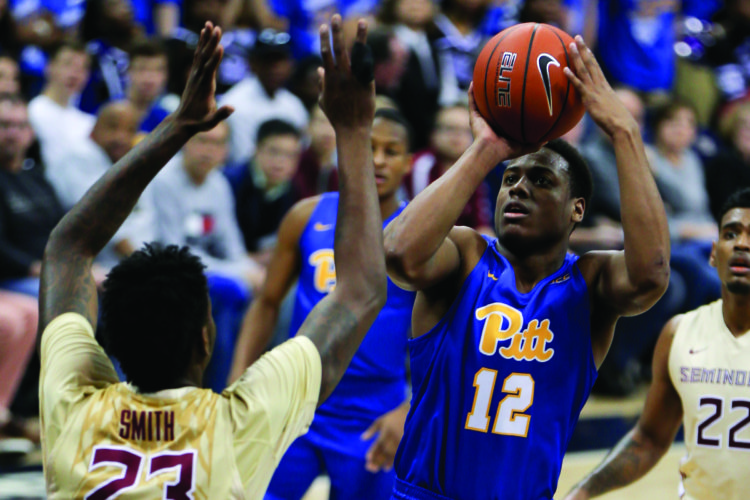 Pittsburgh's Chris Jones (12) plays against Florida State in an NCAA college basketball game, Saturday, Feb. 18, 2017, in Pittsburgh. (AP Photo/Keith Srakocic)