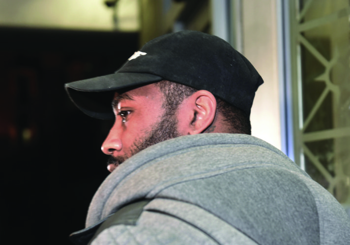 New York Jets cornerback Darrelle Revis enters the Pittsburgh Municipal Courts Building en route to City Court with his lawyer, Blaine Jones, Friday, Feb. 17, 2017, in downtown Pittsburgh. According to a docket sheet filed Thursday night, Revis is facing two counts of aggravated assault, along with charges of robbery, conspiracy to commit aggravated assault and terroristic threats - a misdemeanor - after a fight early Sunday. (John Heller/Post-Gazette via AP)