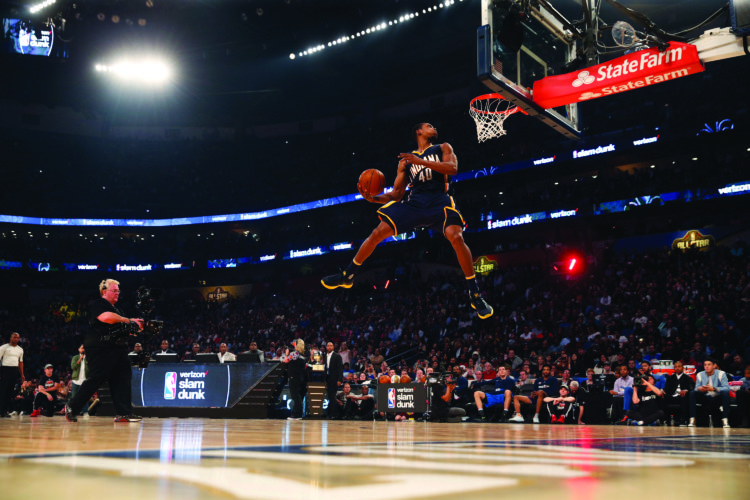 Indiana pacers Glenn Robinson III slam dunks as he participates in the slam dunk contest during NBA All-Star Saturday Night events in New Orleans, Saturday, Feb. 18, 2017. (AP Photo/Gerald Herbert)