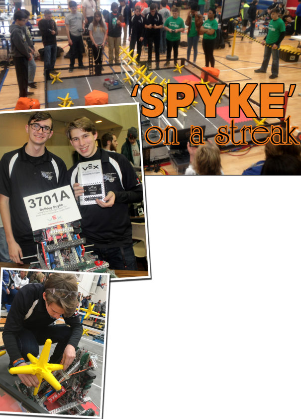"PHOTOS PROVIDED At top, a robot is operated inside the enclosed arena. Above at left, Nash Berfield and Ryan Stratton are seen with their custom robot. At left, Ryan Stratton makes final inspections of ""Spyke."""
