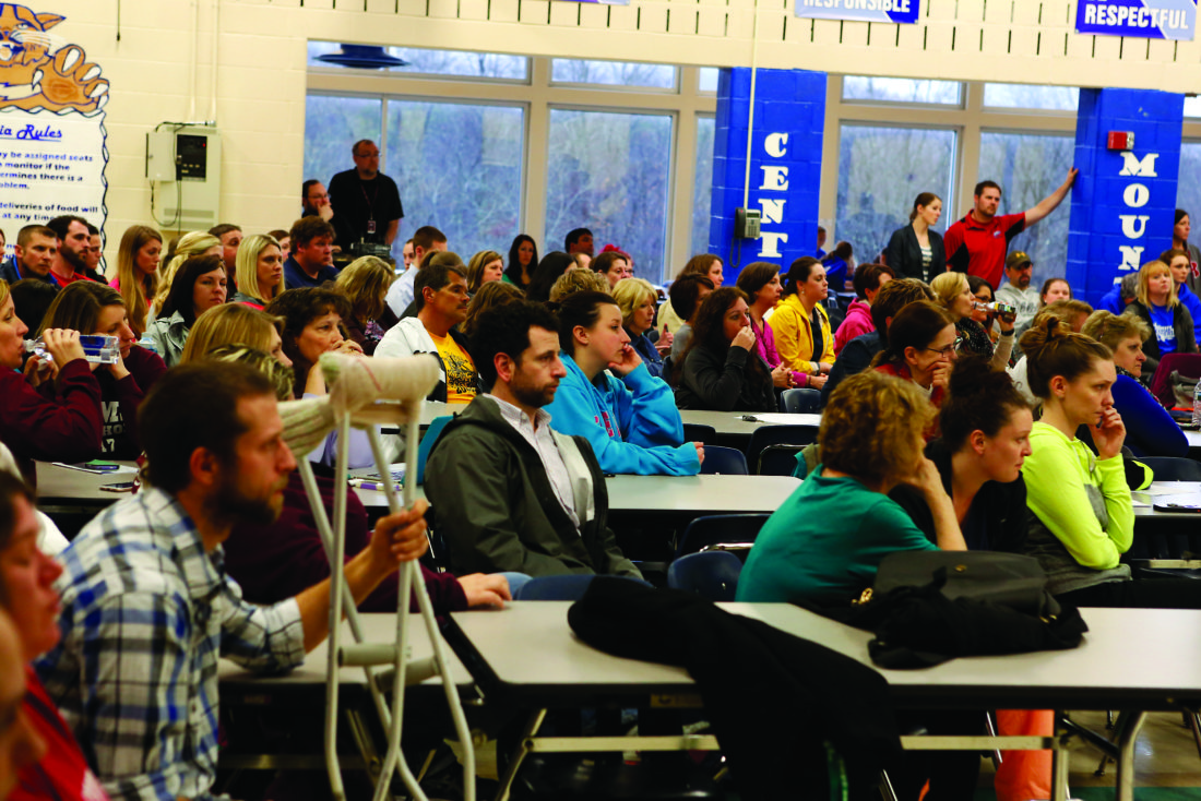 SPENCER MCCOY/THE EXPRESS A large crowd was in attendance at last night's school board meeting, where consolidation of schools within the district was a topic of discussion.