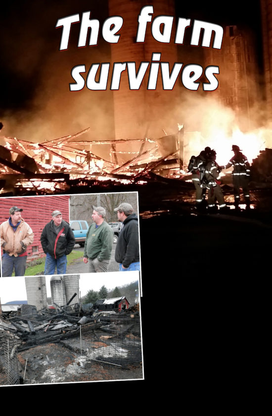 PHIL HOLMES &LANA MUTHLER/FOR THE EXPRESS At top, an equipment barn on the Ben and Kim Carson dairy farm was destroyed by flames Wednesday night. Above at left, friends and neighbors volunteer to help after the fire. Ben Carson is seen second from right. At left, the remains of the equipment barn are seen.