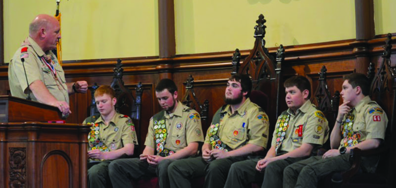 "PHOTOS PROVIDED U.S. Congressman Glen ""GT"" Thompson, left, talks to the five new Eagle Scouts, from left, Garrett Waite, Justin Somers, Zach Frankhouser, Aaron Shultz and Ian Sproat."