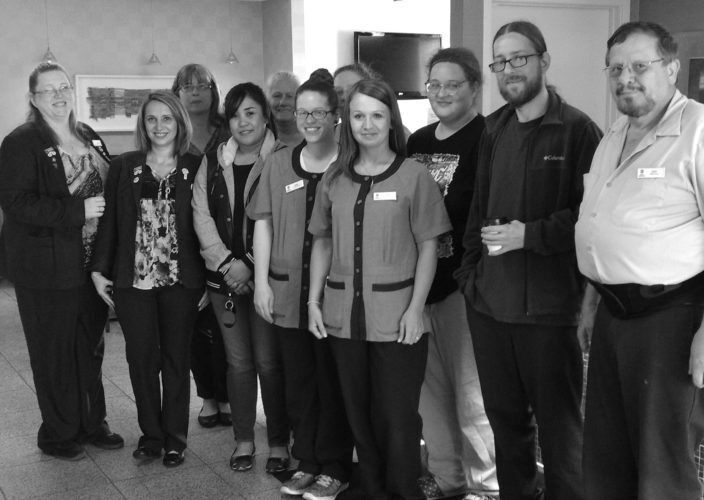 PHOTO PROVIDED Best Western Lock Haven employees include, from left, General Manager April Welshans, front desk Manager Heather Harper, Property Manager Joan Marshall, Wanda Nelson, Mary Stull, Abbie Frank, Cathy Crawford (partially hidden), Executive Housekeeper Emily Kinney, Laura Waltz, Grant Young and Gary Barner. Missing from the photo are Bonnie Gradel, Sharon Duck, Keith Stein, Raven Felix and Thomm Yost.