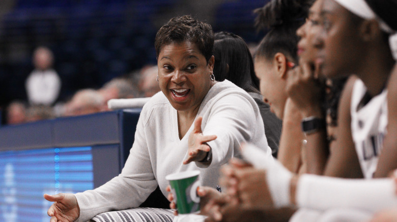 Penn State head coach Coquese Washington against Saint Peter's on Nov. 13, 2016. The Lady Lions' won 106-50 for the 900th win in the history of the program. Photo/Craig Houtz