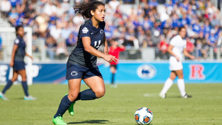 Penn State University women soccer's Raquel Rodridguez runs up the field. She's nominated for 2017 NCAA Woman of the Year. (Photo courtesy of Penn State Women's Soccer)
