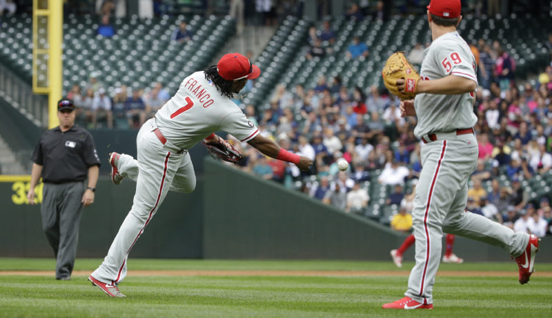Philadelphia Phillies third baseman Maikel Franco (7) makes a running throw to first base as pitcher Mark Leiter Jr., right, watches, in the first inning of a baseball game, Wednesday, June 28, 2017, in Seattle. Seattle Mariners' Kyle Seager safely reached first base on the play. (AP Photo/Ted S. Warren)