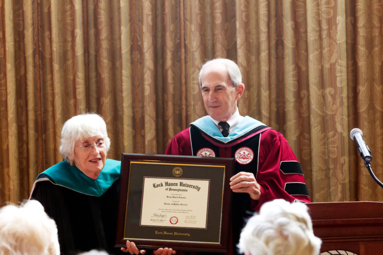 Dr. Betty Schantz receives an honorary doctorate of public service from LHU President Dr. Michael Fiorentino Jr.  PHOTO PROVIDED
