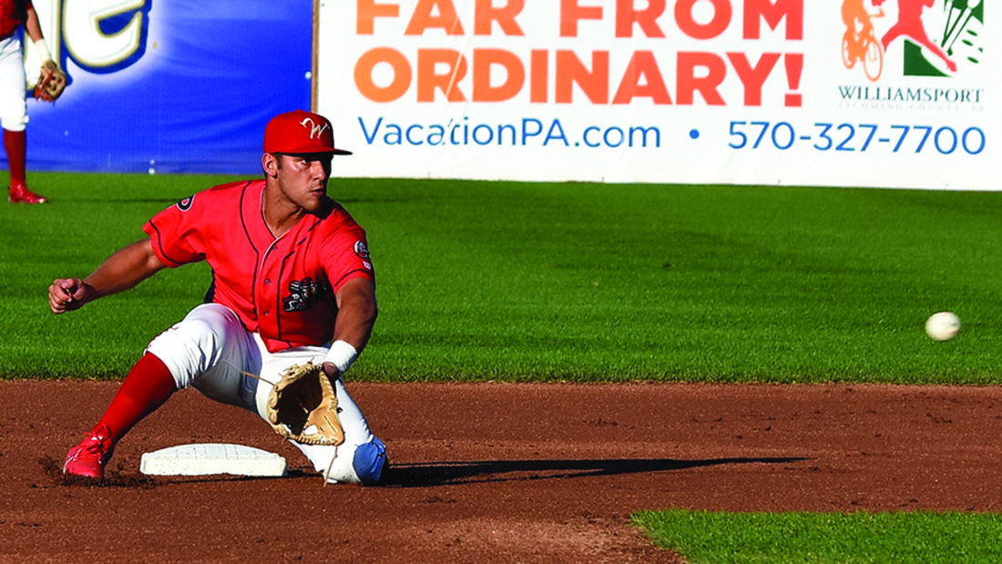 Williamsport Crosscutter Jake Scheiner fields  the ball in Tuesday's  4-2 win over the State College Spikes.