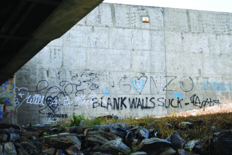 LANA MUTHLER/THE EXPRESS Those who walk the dike-levee have reported this unsightly graffiti which appeared recently on the levee wall beneath Veterans Bridge to the county commissioners.