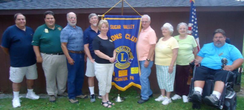"PHOTO PROVIDED Sugar Valley Lions Club officers and directors include, from left, President Bob Miller, Past District Governor Boise Miller who installed them, two-year director Ed Lewis, treasurer Terry Shoemaker, second vice president and one-year director Kathie Shoemaker, assistant treasurer Ken Brungard, assistant secretary Barb Smith, ""Lion Tamer"" Shirley Snook, and ""Tail Twister"" Chris Scaff."