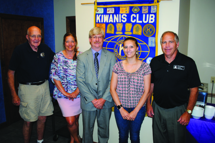 Kiwanians Art Gray and Angela Harding, July program chair; Kryder, and Kiwanians Amanda Keiffer and Bob Thompson are seen at a recent meeting of the Kiwanis Club of Lock Haven.
