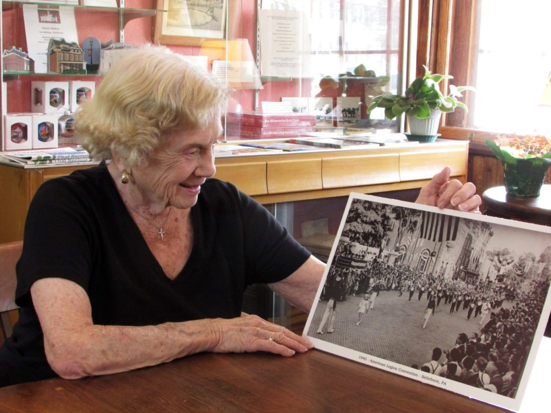 EMMA GOSALVEZ/THE EXPRESS Norma Markle, now 86, looks back at the time when she, at the age of 9, led the Bellefonte Banjo Band through the streets of Bellefonte during the 1940 American Legion Convention.