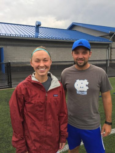 New Central Mountain High School Lady Wildcats soccer head Coach Cole Black poses with his assistant coach, former CM standout Johnna Garbrick.