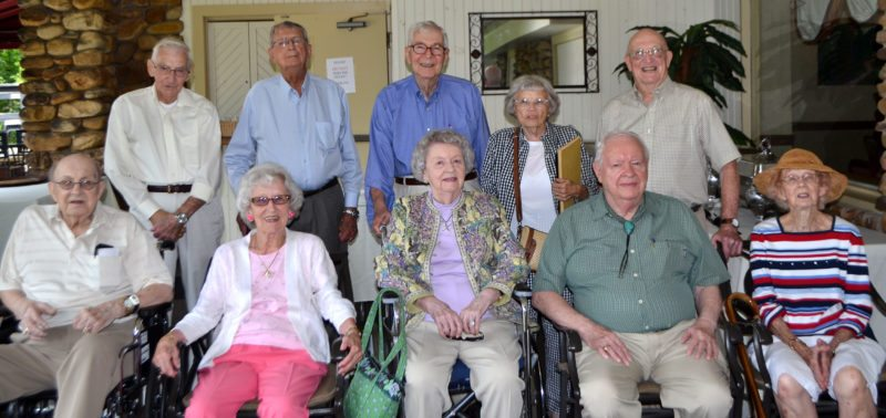 """Members of the Lock Haven High School Class of 1942 met Friday at Haywood's for their 75th-year reunion. They are, from left, in front: Vance Klepper, Annabelle McAuley Chapman, Eleanor """"Toby"""" Tobias Gardner, Chet Pribble and Dorothy Sterrett Wolfe; and in back: Dean Somerville, George MacKenzie, Bill Eisemann, Margaret """"Kitty"""" Thompson Andrews and Don """"Red"""" Wadsworth."""