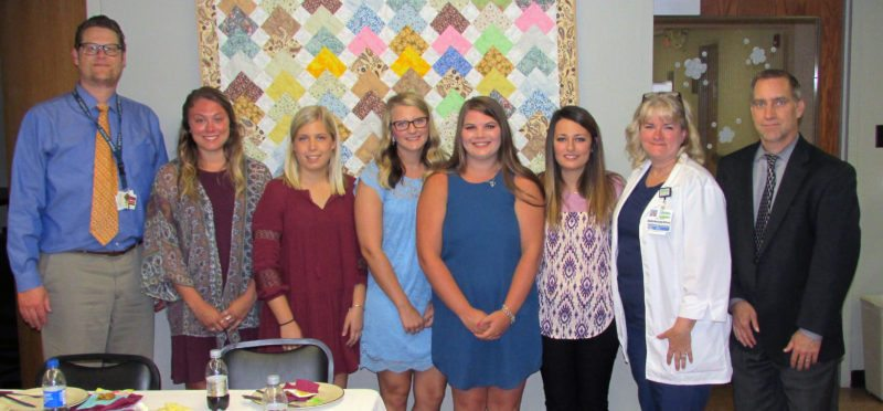 PHOTO PROVIDED Pictured, from left, are Steven Davis, chief executive officer, Lock Haven Hospital; scholarship winners Karli Coleman, Macy Waltz, Sierra McCombs, Morgan Askins, Chelsea Boone; Darla Hardy, MHA, MSN, RN, NE-BC, PCCN, chief nurse officer, Lock Haven Hospital; Tim Keohane, vice president, Lock Haven Hospital Board of Trustees.