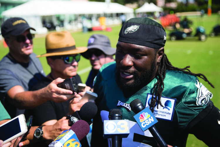 Philadelphia Eagles running back LeGarrette Blount speaks with members of the media during an NFL football training camp in Philadelphia, Friday, Aug. 4, 2017. (AP Photo/Matt Rourke)