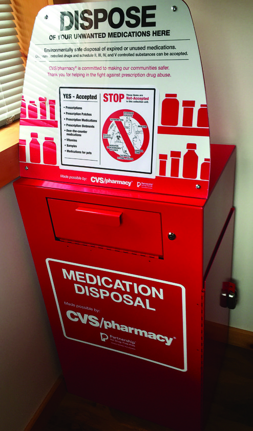 Pictured is the new drug disposal box located in the Pine Creek Township Police station.