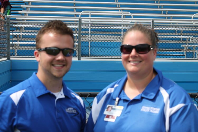 Standing left-to-right are Central Mountain trainers  Matt Pyle and Liz Evarts. Matt has been with CM for seven years now, while Liz has been at CM  for 11 years.