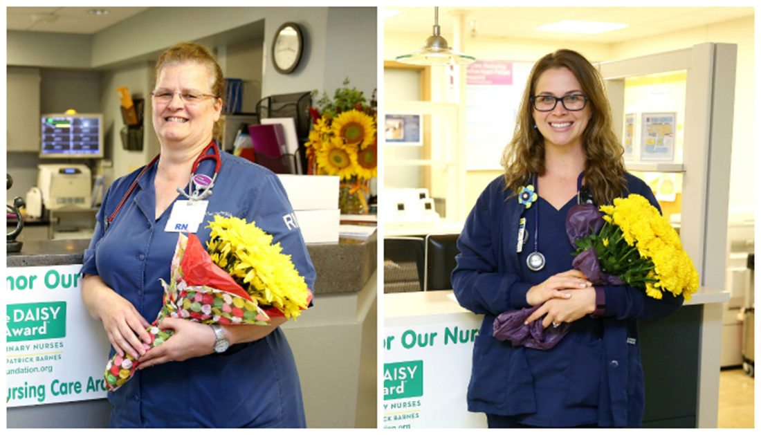 PHOTO PROVIDED From left are Elva Schmidt, RN, and Brianna Sipe, RN, who received Daisy Awards recently.