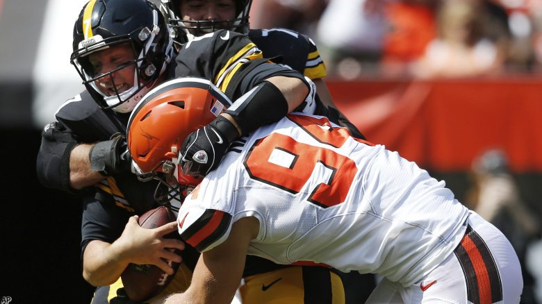 Cleveland Browns defensive end Carl Nassib (94) sacks Pittsburgh Steelers quarterback Ben Roethlisberger (7) during the second half of an NFL football game, Sunday, Sept. 10, 2017, in Cleveland. (AP Photo/Ron Schwane)