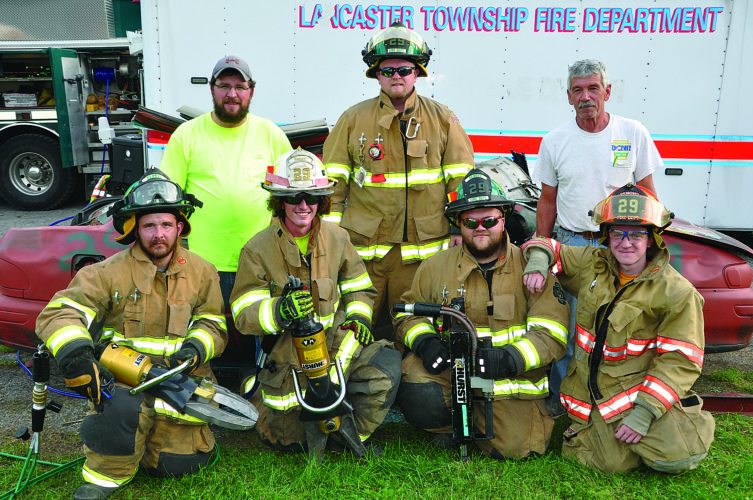 """KEVIN RAUCH Renovo Fire Department's Josh Kanouff uses the new Hurst """"Jaws of Life"""" tools in a training exercise at their station. The two new tools replaced similar ones that were 30 years old,  and will be put into service immediately by the Renovo Station #29."""
