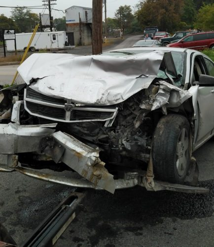 PHOTO PROVIDED Jennifer Jackson's car was demolished in an early morning crash yesterday.