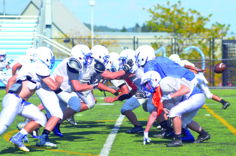 Central Mountain's offensive and defensive lines go at it during a Wildcat practice on Wednesday. CM hosts Clearfield tonight at 7 p.m.