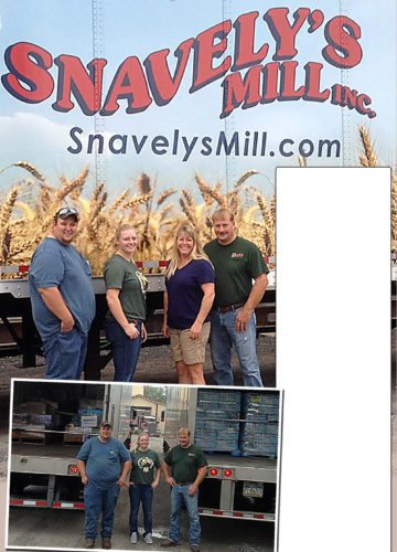 PHOTOS PROVIDED At top, from left, Ryan Gates, Danea Snavely, Lisa Snavely and Dan Snavely stand in front of a truck prior to departure from Clintondale. At left, Gates and the Snavelys are seen during the loading of a truck.