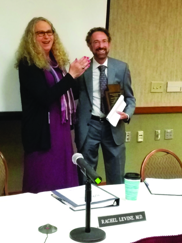 PHOTO PROVIDED Williamsport attorney Clifford A. Rieders, right, receives the Pennsylvania Patient Safety Authority Recognition award from the state's physician general, Dr. Rachel L. Levine.