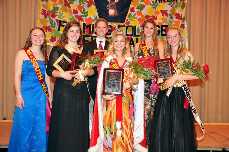 Queen and Her Court. Bucktail's Anna Cowfer was crowned the 69th annual Flaming Foliage Festival Queen Sunday afternoon at Bucktail Area High School. Pictured with Cowfer are others that captured titles, including front, Judges Memorial Award- Miss South Williamsport Allaryn Smith; First Runner Up- Miss Port Allegany Caroline Wise; Miss Bucktail Anna Cowfer; Second Runner Up- Miss Smethport Hailey Hoch; second row, Mr. Congeniality- Mr. Wellsboro Brayden Button;  Miss Photogenic- Miss Penns Valley Abigail Martin. 2017 FFF Queen Anna Cowfer, representing Bucktail Area High School was all smiles as 2016 Queen Michelle Hunter passed the crown to Cowfer following the 69th annual FFF Weekend.