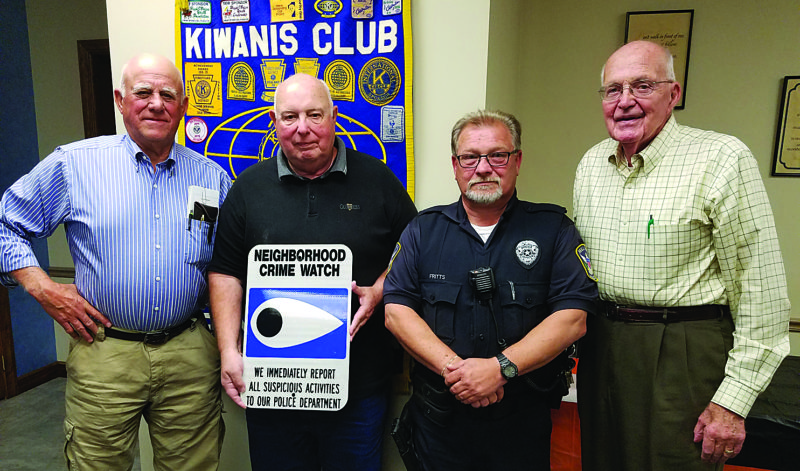 BOB ROLLEY/THE EXPRESS At a recent Lock Haven Kiwanis Club meeting are, from left, speaker Tom Bossert, mayor of Mill Hall; Kiwanian Vince Shay, a Mill Hall Borough Council member and a program chair for the club; speaker Jeff Fritz, a Mill Hall police officer; and Club President Art Gray.