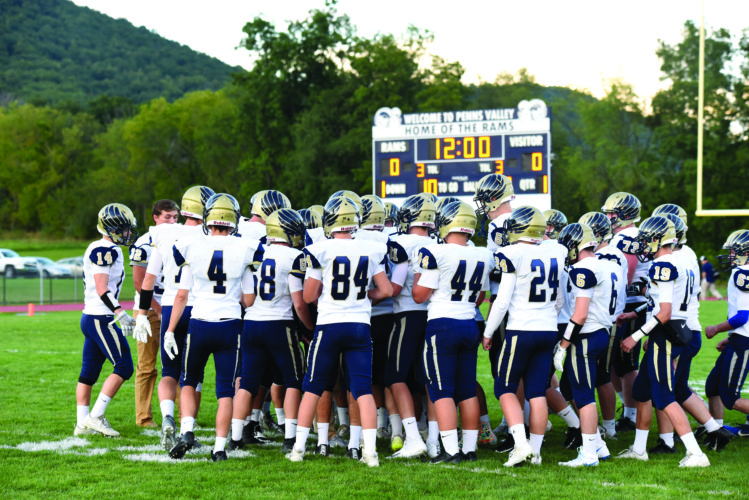 The Bald Eagle Area High School football team huddles up before a high school football game against Penns Valley High School. The Bald Eagles currently sit at .500 with a 4-4 record heading into this Friday's game against Jersey Shore. (The Express/Tim Weight)