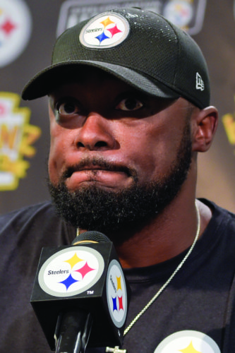 Pittsburgh Steelers head coach Mike Tomlin takes questions at a news conference after an NFL football game against the Jacksonville Jaguars, Sunday, Oct. 8, 2017, in Pittsburgh. The Jaguars won 30-9. (AP Photo/Fred Vuich)