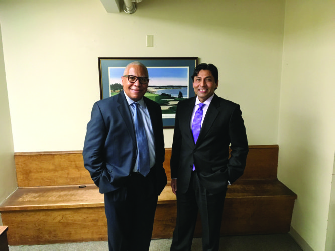 PHOTO PROVIDED Pictured are Kevin F. Gibson, M.D., Associate Professor of Medicine, University of Pittsburgh School of Medicine, left, and Raj Patel, M.D., president of the medical staff, UPMC Susquehanna Lock Haven.