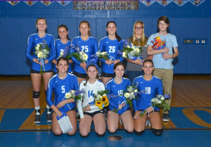 PHIL MAPSTONE/FORTHEEXPRESS Central Mountain seniors were honored in a pre-game ceremony. Kneeling left to right are Pamela Gunsallus, Maegan Miller, Makenna Bittner and Rachel Kibler.  Standing left to right are Jada Dauberman, Madison Myers, Kelsey Buckwalter, Maddie Bashore, and team managers Aimee Zimmerman and Matthew Marasco.