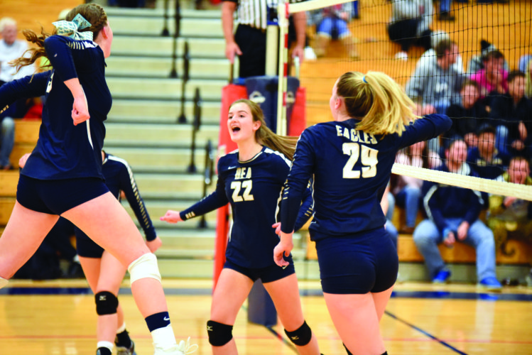 Members of the Bald Eagle Area High School volleyball team celebrate after scoring against Ligonier Valley High School. The No. 1 seeded Bald Eagle Area Bald Eagles now move onto to the next round of the playoffs on Thursday. (The Express/Tim Weight)