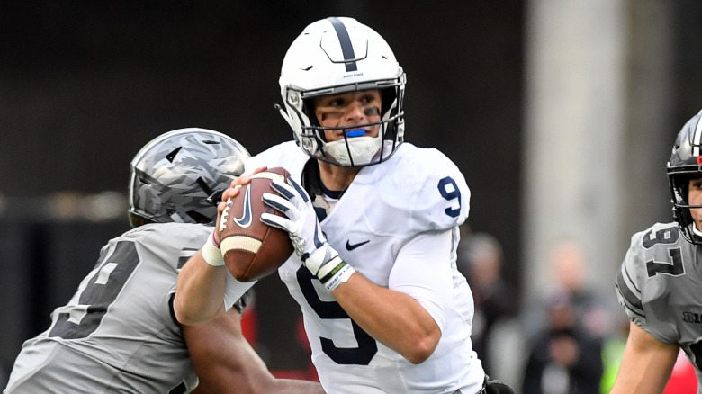 Penn State's Trace McSorley (9) during second quarter action of the Nittany Lions game with Ohio State.  No. 6 Ohio State rallied from 15 points down in the fourth quarter to defeat No. 2 Penn State, 39-38 in Big Ten football action Saturday afternoon in Ohio Stadium.  Photo by Mark Selders