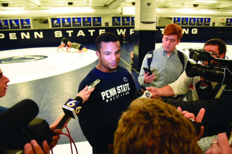 Penn State's Mark Hall talks to reporters during PSU's media day on Thursday.