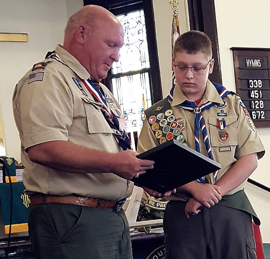 "PHOTO PROVIDED U.S. Congressman Glenn ""GT"" Thompson, left, presents Eagle Scout Zach Etters with an award."