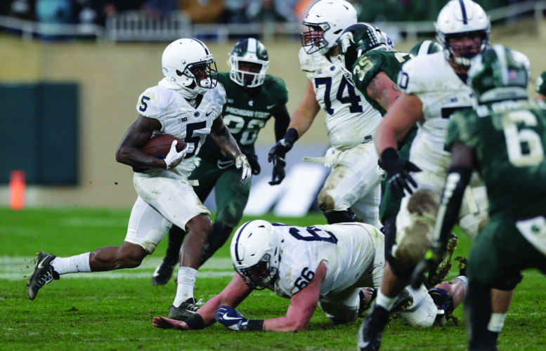 Penn State wide receiver DaeSean Hamilton (5) rushes during the second half of an NCAA college football game against Michigan State, Saturday, Nov. 4, 2017, in East Lansing, Mich. (AP Photo/Carlos Osorio)
